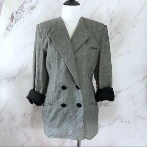 Oleg Cassini Houndstooth Double Breasted Blazer